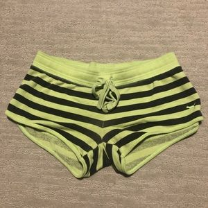 Victoria secret pink sweatshorts green striped xs